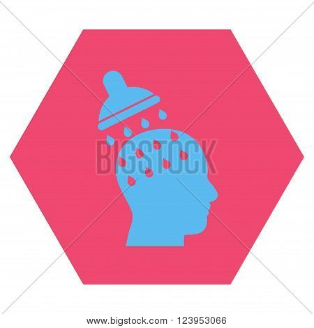 Brain Washing vector symbol. Image style is bicolor flat brain washing iconic symbol drawn on a hexagon with pink and blue colors.
