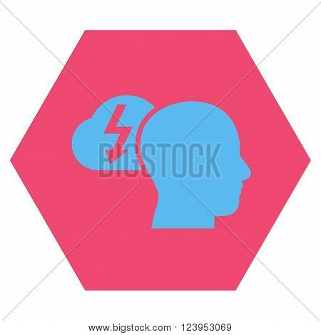 Brainstorming vector icon symbol. Image style is bicolor flat brainstorming pictogram symbol drawn on a hexagon with pink and blue colors.