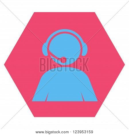 Call Center Operator vector pictogram. Image style is bicolor flat call center operator icon symbol drawn on a hexagon with pink and blue colors.