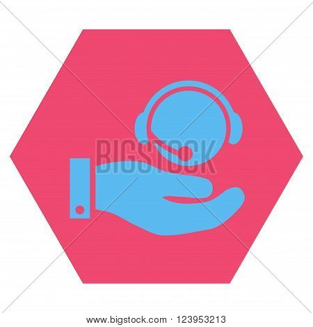 Call Center Service vector icon. Image style is bicolor flat call center service pictogram symbol drawn on a hexagon with pink and blue colors.