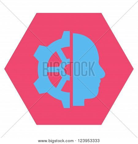 Cyborg Gear vector icon. Image style is bicolor flat cyborg gear pictogram symbol drawn on a hexagon with pink and blue colors.