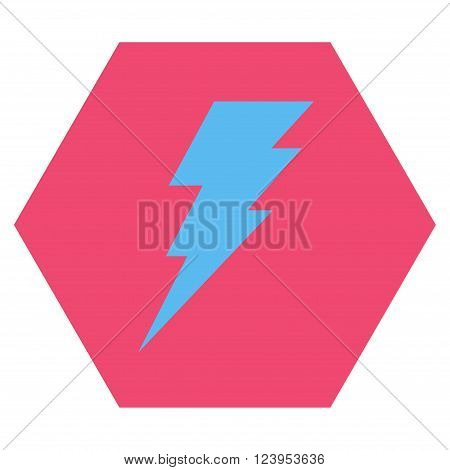 Execute vector icon symbol. Image style is bicolor flat execute iconic symbol drawn on a hexagon with pink and blue colors.