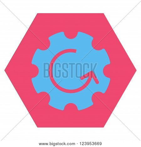 Gear Rotation vector icon. Image style is bicolor flat gear rotation iconic symbol drawn on a hexagon with pink and blue colors.