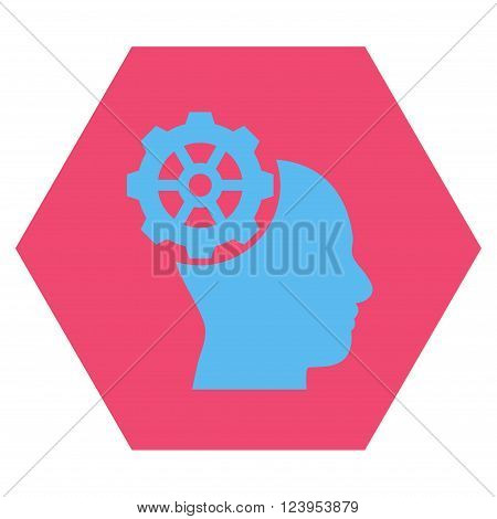 Head Gear vector symbol. Image style is bicolor flat head gear pictogram symbol drawn on a hexagon with pink and blue colors.