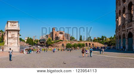 ROME ITALY - JUNE 6: Panorama square of the Colosseum overlooking the arch of Constantine and temple of Venus on 6 june 2012