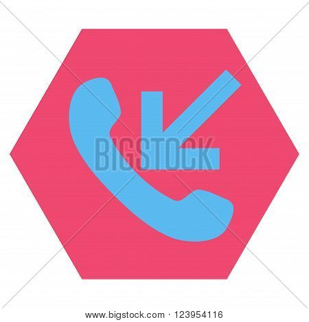 Incoming Call vector icon symbol. Image style is bicolor flat incoming call icon symbol drawn on a hexagon with pink and blue colors.