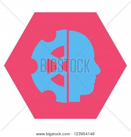 Intellect vector symbol. Image style is bicolor flat intellect iconic symbol drawn on a hexagon with pink and blue colors.