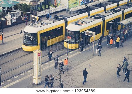 Berlin, Germany - march 30, 2016: People at train tram station at Alexanderplatz in berlin, germany.