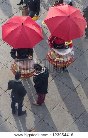 Berlin, Germany - march 30, 2016: Mobile Bratwurst (Sausage) sellers at Alexanderplatz in Berlin,Germany.