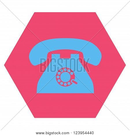 Pulse Phone vector icon symbol. Image style is bicolor flat pulse phone icon symbol drawn on a hexagon with pink and blue colors.