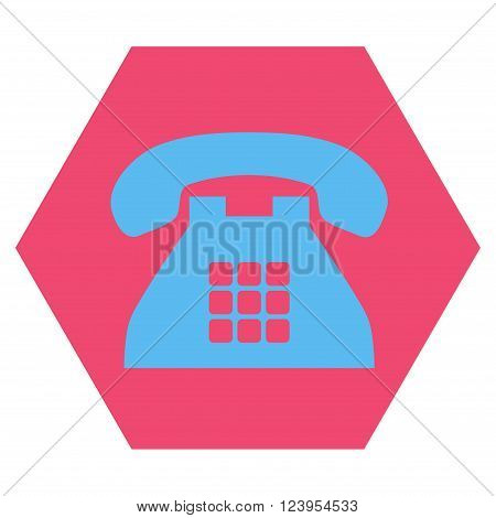 Tone Phone vector icon symbol. Image style is bicolor flat tone phone iconic symbol drawn on a hexagon with pink and blue colors.