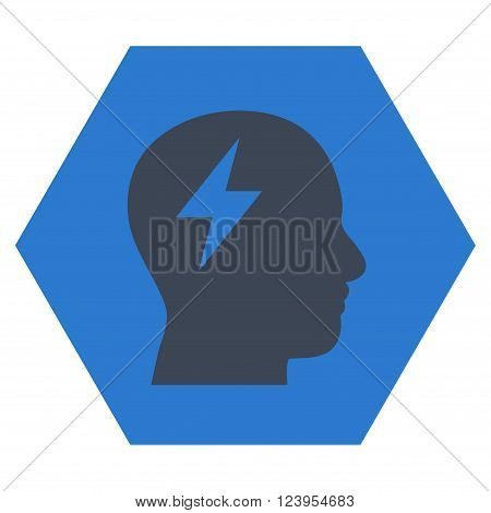 Brainstorming vector icon symbol. Image style is bicolor flat brainstorming iconic symbol drawn on a hexagon with smooth blue colors.