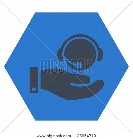 Call Center Service vector symbol. Image style is bicolor flat call center service pictogram symbol drawn on a hexagon with smooth blue colors.