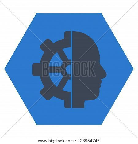 Cyborg Gear vector pictogram. Image style is bicolor flat cyborg gear iconic symbol drawn on a hexagon with smooth blue colors.