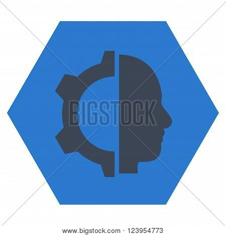 Cyborg Gear vector icon. Image style is bicolor flat cyborg gear icon symbol drawn on a hexagon with smooth blue colors.