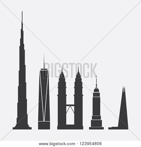 March 31, 2016: Collection of Abstract Vector Illustrations of Five Famous Skyscrapers: Burj Khalifa, One World Trade Center, Petronas Towers, Empire State Building, The Shard - For Editorial Use