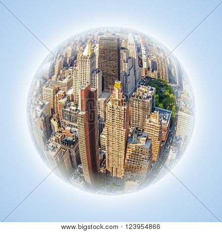 Conceptual image with fisheye effect and globe effect. Representative image of the heart of Manhattan and business finance. Modern shiny blue facade of high rise buildings, New York city, USA.