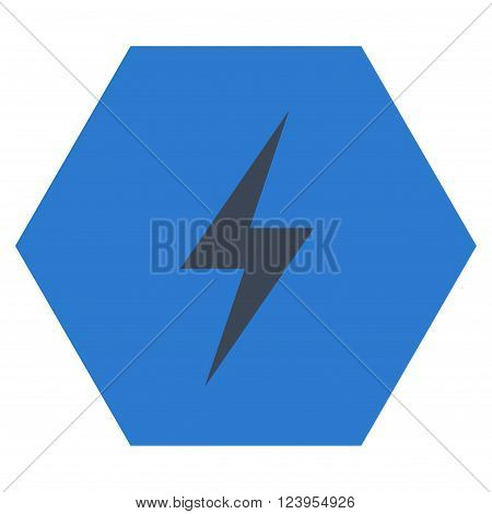 Electricity vector icon symbol. Image style is bicolor flat electricity pictogram symbol drawn on a hexagon with smooth blue colors.