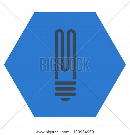 Fluorescent Bulb vector pictogram. Image style is bicolor flat fluorescent bulb pictogram symbol drawn on a hexagon with smooth blue colors.