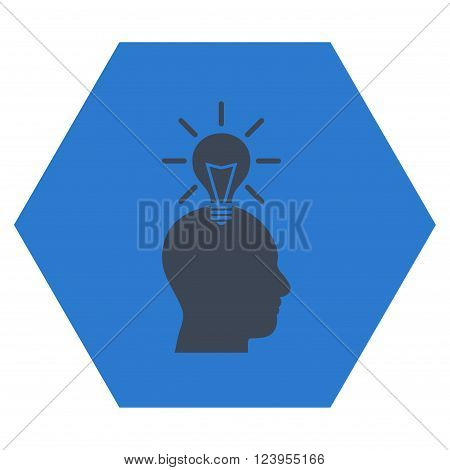Genius Bulb vector icon. Image style is bicolor flat genius bulb icon symbol drawn on a hexagon with smooth blue colors.