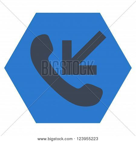Incoming Call vector pictogram. Image style is bicolor flat incoming call iconic symbol drawn on a hexagon with smooth blue colors.