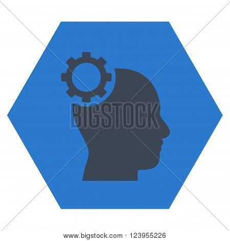 Intellect Gear vector pictogram. Image style is bicolor flat intellect gear pictogram symbol drawn on a hexagon with smooth blue colors.
