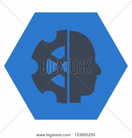 Intellect vector pictogram. Image style is bicolor flat intellect pictogram symbol drawn on a hexagon with smooth blue colors.