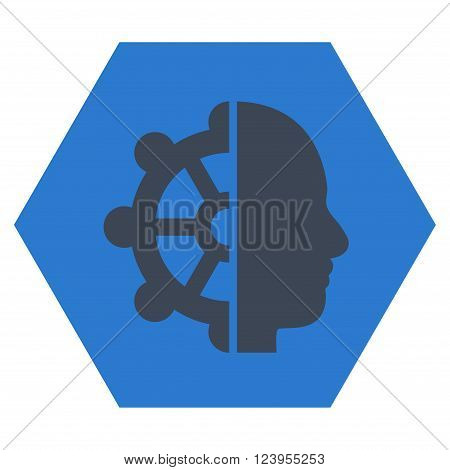 Intellect vector icon symbol. Image style is bicolor flat intellect icon symbol drawn on a hexagon with smooth blue colors.