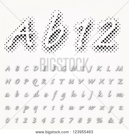 vector dotted halftone shadow raster font