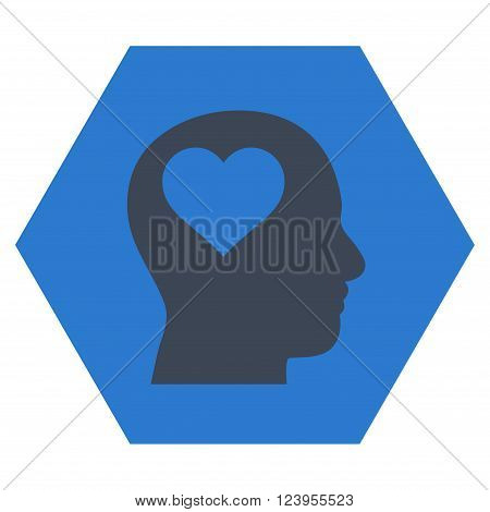 Lover Head vector icon symbol. Image style is bicolor flat lover head iconic symbol drawn on a hexagon with smooth blue colors.