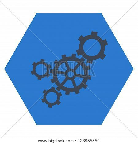 Mechanism vector icon. Image style is bicolor flat mechanism icon symbol drawn on a hexagon with smooth blue colors.