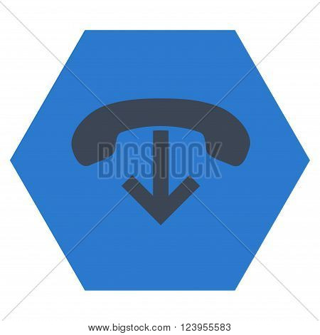 Phone Hang Up vector pictogram. Image style is bicolor flat phone hang up pictogram symbol drawn on a hexagon with smooth blue colors.