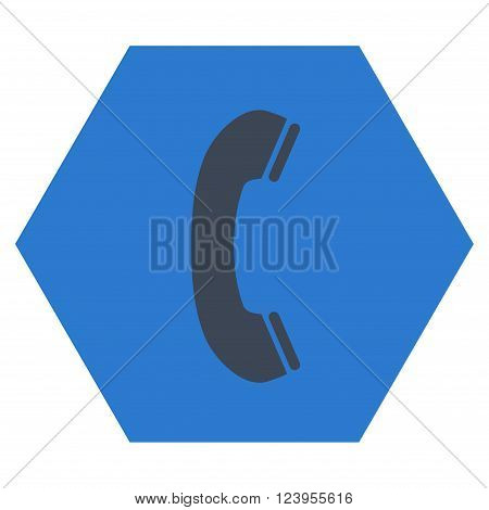 Phone Receiver vector pictogram. Image style is bicolor flat phone receiver iconic symbol drawn on a hexagon with smooth blue colors.