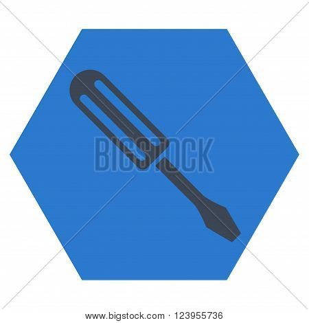 Screwdriver vector symbol. Image style is bicolor flat screwdriver iconic symbol drawn on a hexagon with smooth blue colors.