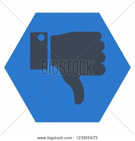 Thumb Down vector icon symbol. Image style is bicolor flat thumb down icon symbol drawn on a hexagon with smooth blue colors.