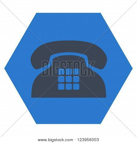 Tone Phone vector icon symbol. Image style is bicolor flat tone phone iconic symbol drawn on a hexagon with smooth blue colors.
