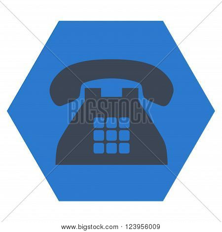 Tone Phone vector icon symbol. Image style is bicolor flat tone phone icon symbol drawn on a hexagon with smooth blue colors.