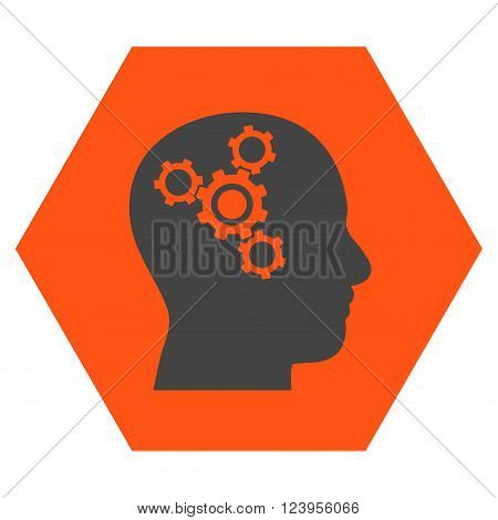 Brain Mechanics vector icon. Image style is bicolor flat brain mechanics pictogram symbol drawn on a hexagon with orange and gray colors.