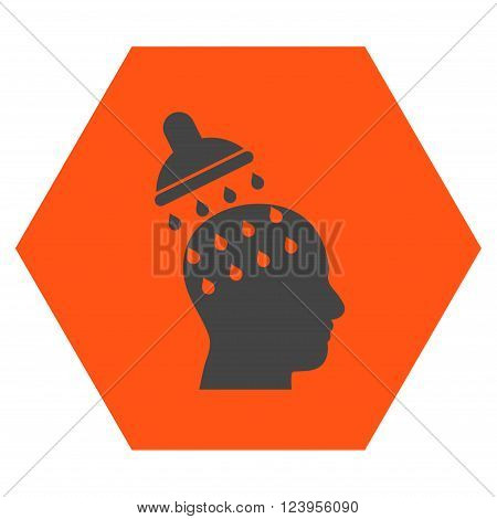 Brain Washing vector icon symbol. Image style is bicolor flat brain washing iconic symbol drawn on a hexagon with orange and gray colors.
