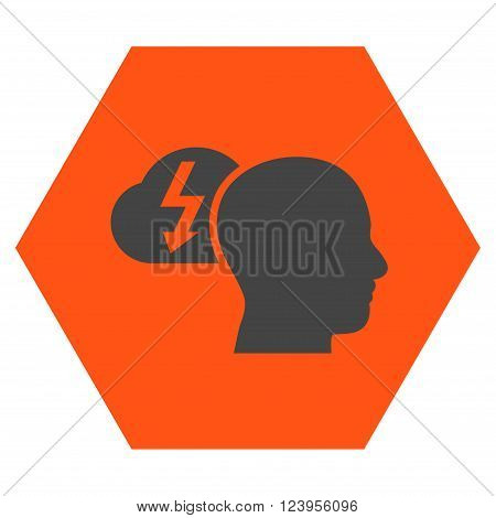 Brainstorming vector pictogram. Image style is bicolor flat brainstorming pictogram symbol drawn on a hexagon with orange and gray colors.
