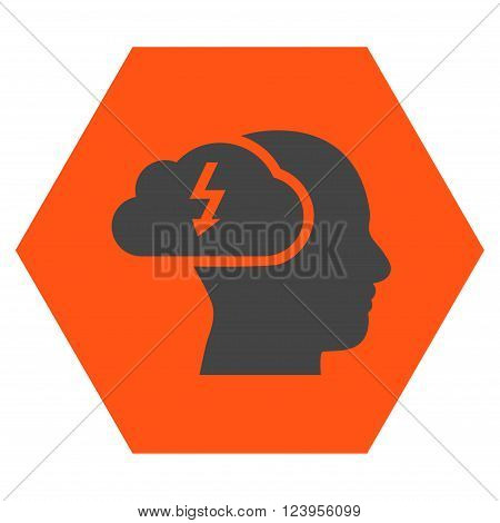 Brainstorming vector pictogram. Image style is bicolor flat brainstorming icon symbol drawn on a hexagon with orange and gray colors.