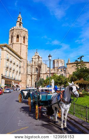 Valencia Cathedral and Miguelete tower Micalet in Spain