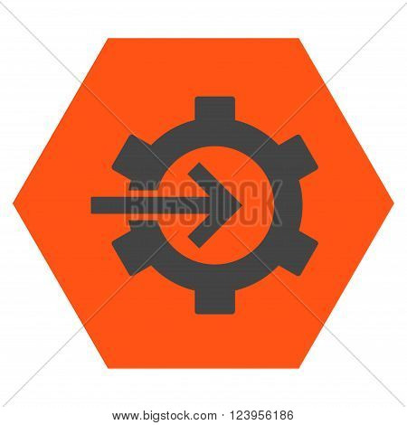 Cog Integration vector icon symbol. Image style is bicolor flat cog integration icon symbol drawn on a hexagon with orange and gray colors.