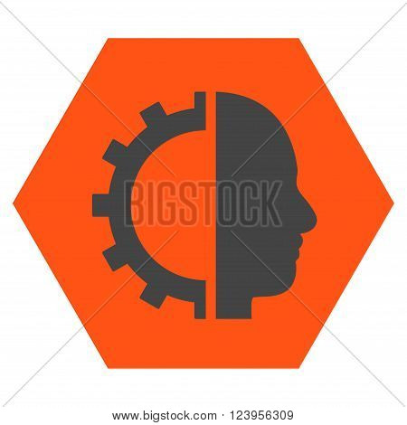 Cyborg Gear vector icon. Image style is bicolor flat cyborg gear iconic symbol drawn on a hexagon with orange and gray colors.