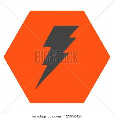 Execute vector icon. Image style is bicolor flat execute iconic symbol drawn on a hexagon with orange and gray colors.