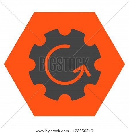 Gear Rotation vector symbol. Image style is bicolor flat gear rotation iconic symbol drawn on a hexagon with orange and gray colors.