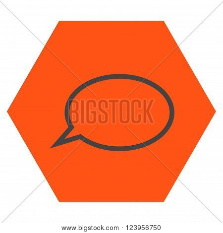 Hint Cloud vector symbol. Image style is bicolor flat hint cloud iconic symbol drawn on a hexagon with orange and gray colors.