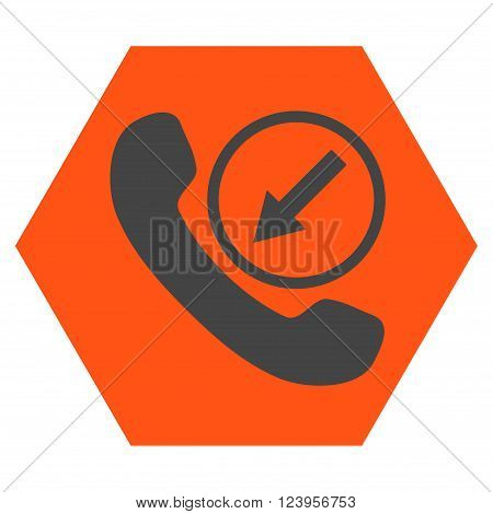 Incoming Call vector symbol. Image style is bicolor flat incoming call iconic symbol drawn on a hexagon with orange and gray colors.