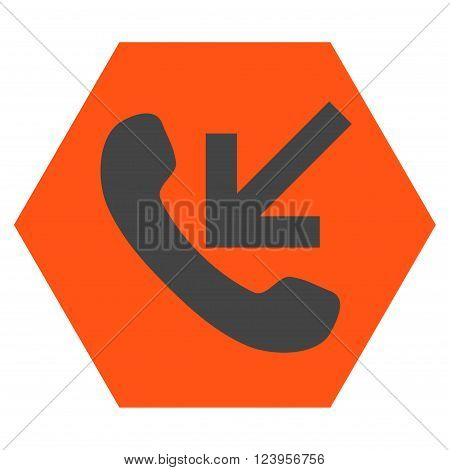 Incoming Call vector icon symbol. Image style is bicolor flat incoming call pictogram symbol drawn on a hexagon with orange and gray colors.