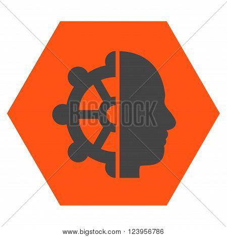 Intellect vector pictogram. Image style is bicolor flat intellect iconic symbol drawn on a hexagon with orange and gray colors.